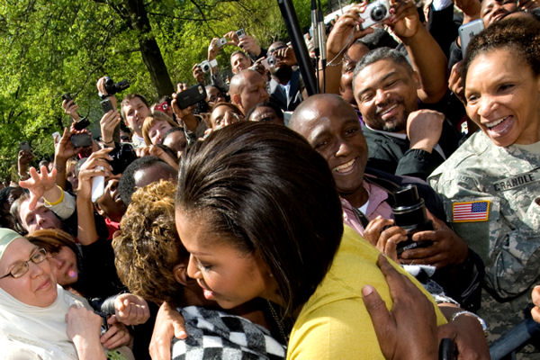 First Lady Michelle Obama thanks military members and civilian employees of the Department of Defense for their service at the Pentagon, April 9, 2010.