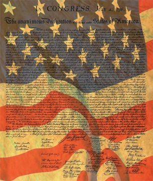An artist's combination of the American flag and the Declaration of Independence is shown.