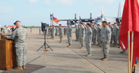 Lt. Col. Douglas O'Connell addresses a crowd gathered for the re-activation of the 1st Battalion of the 143rd Infantry Regiment (Airborne) at the Texas State Technical College airport in Waco, Texas, Sept. 11, 2010.