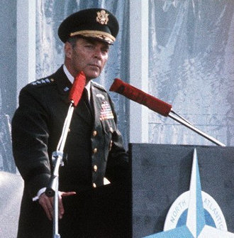Gen. Alexander M. Haig delivers a speech at RAF Lakenheath, England, June 1, 1977, when he was the supreme allied commander of Europe. Photo by Staff Sgt. William Hogan
