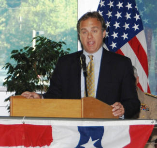 Jim Laychak, president of the Pentagon Memorial Fund, speaks during the McNamara Headquarters Complex 9/11 remembrance ceremony at Fort Belvoir, Va., Sept. 9, 2010. Laychak's brother, a Department of the Army civilian, was killed in the Pentagon attack. DoD photo by Teodora Mocanu