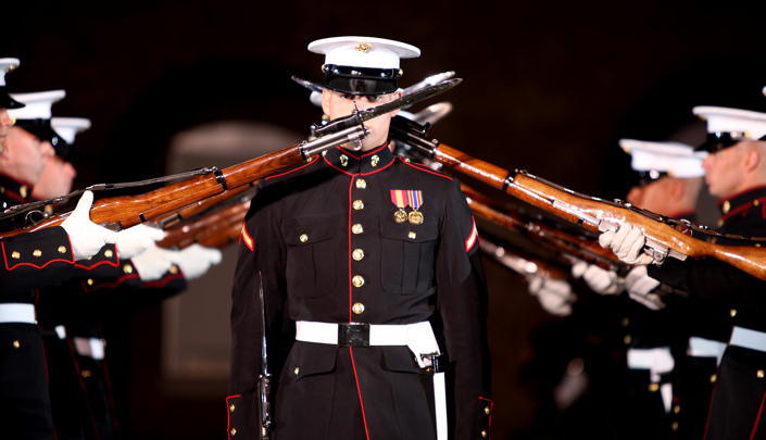 U.S.-Marines with the United States Marine Silent Drill Platoon perform during the Friday Evening Parade at Marine Barracks Washington. D.C. on May 7, 2010.