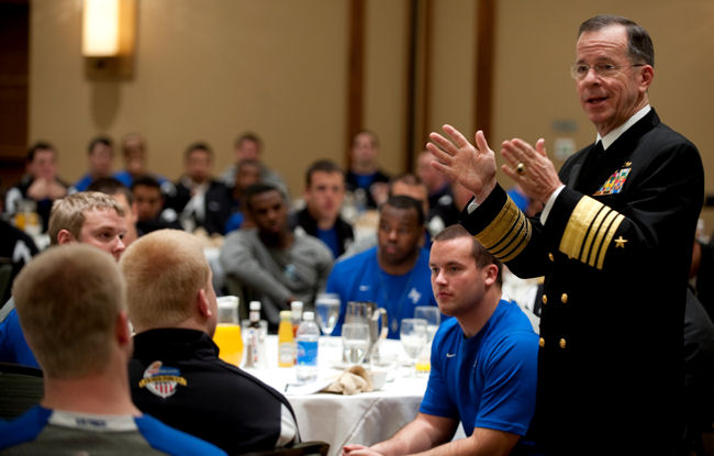 Navy Adm. Mike Mullen, chairman of the Joint Chiefs of Staff, addresses the U.S. Air Force Academy Falcons football team on Dec. 30, 2009, before their appearance in the Armed Forces Bowl in Fort Worth, Texas. The Falcons defeated the University of Houston Cougars 47-20 on New Years Eve.