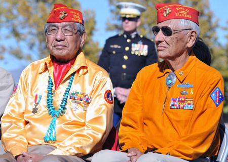 Navajo Code Talkers Peter Macdonald (left) and Roy Hawthorne participated in a ceremony Nov. 10, 2010, at Kirtland Air Force Base, N.M. to pay tribute to veterans and to celebrate Native American Heritage Month. U.S. Air Force photo