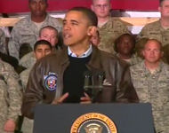 President Barack Obama speaks to the troops in Bagram, Afghanistan on December 3, 2010 during a surprise holiday season trip.
