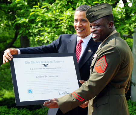 "Marine Corps Sergeant Ledum D. Ndaanee was awarded the ""Outstanding American by Choice"" award by President Barack Obama, during a ceremony at the White House, April 23, 2010. The award highlights the importance of citizenship rights and responsibilities through recognition of the outstanding achievements of naturalized U.S. citizens. Ndaanee, originally from Nigeria, joined the U.S. Marine Corps in 2004, and became an American citizen in 2007."