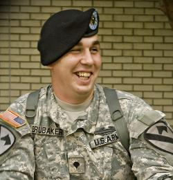 Cheyenne, Wyo., native Spc. Eric Brubaker, a tanker with the 2nd Battalion 5th Cavalry Regiment, 1st Cavalry Division saved the life of a civilian driver involved in an accident on Fort Hood, Texas, Sept. 20, 2010.