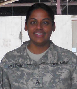 Army Sgt. Asha Narayan brought attitude and ambition to her deployment to U.S. Division Center in Baghdad on September 8, 2010. Courtesy photo