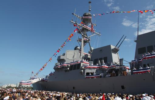 Thousands were in attendance at the USS Jason Dunham commissioning ceremony. The Navy's newest guided-missile destroyer was commissioned at Port Everglades, Fort Lauderdale, November 13, 2010. Photo by USMC Sgt. Jimmy D. Shea
