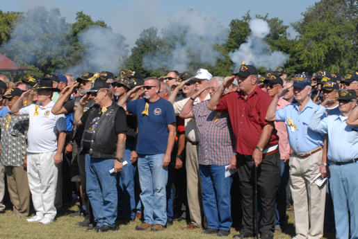"During a ceremony Aug. 26, 2010 at Fort Knox, Ky., Vietnam veterans were given the warm ""welcome home"" that few received after returning to the United States following the war some 35 years ago. During the ceremony, a 15-shot salute was executed as part of honors. Photo Credit by Fort Knox Public Affairs"