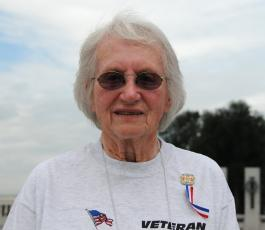 Former Navy hospital corpsman and World War II veteran Jessie Clark discusses her military service during an interview July 21, 2010. Clark joined the Navy after college and served from 1943 to 1945. DoD photo by U.S. Navy Petty Officer 2nd Class William Selby