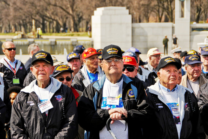 "About 250 veterans gather at the World War II Memorial, March 11, 2010, as producers Stephen Spielberg and Tom Hanks honor them in connection with the premiere of ""The Pacific,"" a miniseries that documents the lives of three Marines as they fight their way through the Pacific theater."
