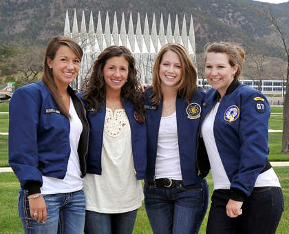 The Robillard sisters became the first family to have four sisters graduate from the institution May 25, 2011, in Colorado Springs, Colo. They are, from left, Amanda and Alicia, Class of 2011; Nicole, Class of 2009; and Lauren, Class of 2007. U.S. Air Force photo by Megan Davis