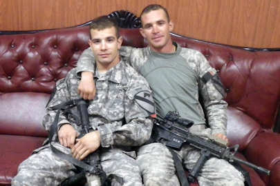 Sgt. Steven Spurrell (left) and Sgt. Andrew Kintgen, both assigned to the 2nd Battalion, 5th Cavalry Regiment, 1st Brigade, 1st Cavalry Division, are half brothers currently deployed in Iraq. Photo by Army 2nd Lt. Thomas Morin, Oct. 16, 2011
