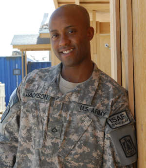Detroit native Army Spc. Kendall Jackson (a Pfc. when photographed on June 6, 2010), a chaplain's assistant with the 86th Expeditionary Signal Battalion, spends his first deployment at Kandahar, Afghanistan.