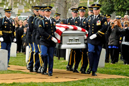 Soldiers with 3rd U.S. Infantry Regiment (The Old Guard) carry the casket of Cpl. Frank Woodruff Buckles, the last American World War I veteran, for his funeral ceremony at Arlington National Cemetery, March 15, 2001. Photo by Army SSgt. Adora Gonzalez