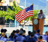Retired Master Chief Petty Officer Vincent Patton, the first African American Master Chief Petty Officer of the Coast Guard, addresses the crowd in honor of African American History Month during a ceremony held at Base Support Unit, Honolulu, Feb. 24, 2011. Patton, a native of Detroit, enlisted in the Coast Guard in June 1972, initially started his career as a radioman and later changed to yeoman in 1979. Patton served as the 8th Master Chief Petty Officer of the Coast Guard, the services's highest enlisted rank from 1998-2002. U.S. Coast Guard photo by Petty Officer 3rd Class Michael De Nyse