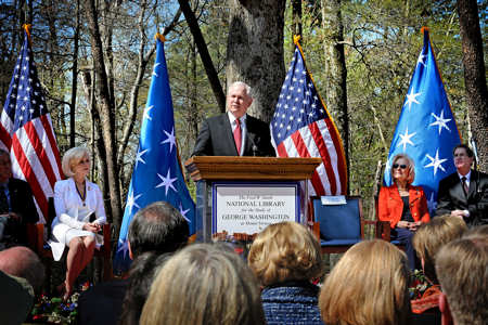 Defense Secretary Robert M. Gates speaks at the groundbreaking for the National Library for the Study of George Washington on the grounds of the Mount Vernon Estate, Va., April 14, 2011. DOD photo by R.D. Ward