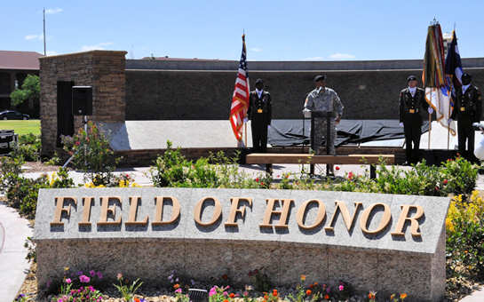Maj. Gen. Dana J.H. Pittard, Fort Bliss, Texas, commanding general speaks at the Field of Honor Dedication Ceremony May 2, 2011.