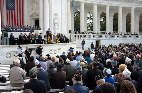 At an Oct. 24, 2011, dedication ceremony for the Jewish Chaplains Memorial at Arlington National Cemetery, Ken Kraetzer tells the audience how the memorial came to be. DOD photo by Jim Garamone