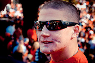 Lance Cpl. Kyle Carpenter, a 22 year-old Marine and wounded warrior from Walter Reed National Military Medical Center, was honored at the Iron Bowl, a yearly rivalry football game between Auburn University and the University of Alabama on Nov. 26, 2011. Photo by USMC Staff Sgt. Tracie Kessler