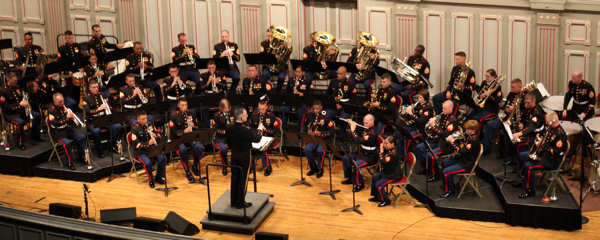 The 2nd Marine Aircraft Wing Band performs in concert at the Troy Savings Bank Concert Hall in Troy, N.Y., June 11. About 800 people attended the concert. The crowd consisted largely of military veterans who were compelled to stand on their feet for a musical version of the Pledge of Allegiance.