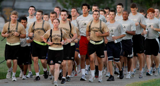 The cadet cadre for the Summer Leaders Seminar leads more than 500 rising high school students to Daly Field for an early-morning physical training session which included the traditional Army staples of stretches and pushups and situps. Competitive spirit was activated during an enthusiastic series of relay races.