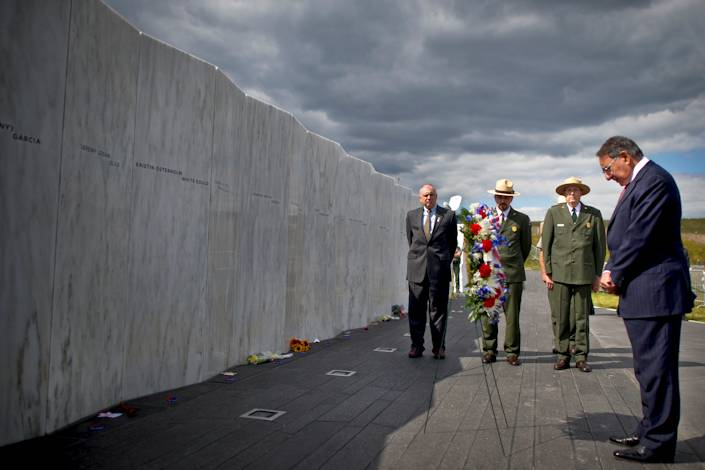 On the eve of the 11th anniversary of the Sept. 11, 2001, terrorist attacks on the United States, Defense Secretary Leon E. Panetta lays a wreath at the Flight 93 Memorial Plaza Wall of Names in Shanksville, Pa., Sept. 10, 2012. DOD photo by U.S. Navy Petty Officer 1st Class Chad J. McNeeley