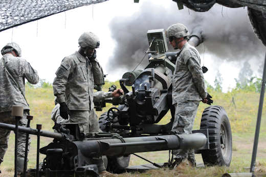 Seventh section, from A. Battery, 2nd Battalion, 319th Airborne Field Artillery Regiment, 2nd Brigade Combat Team, 82nd Airborne Division, conducts live firing of their howitzer after successfully being certified, April 16, 2012 on Fort Bragg, N.C. The howitzer is one of the weapon systems the artillery has in its arsenal, and because of the devastating effects it has on the battlefield, the crew has to operate it with precision. Photo by Army Sgt. Matthew Ryan