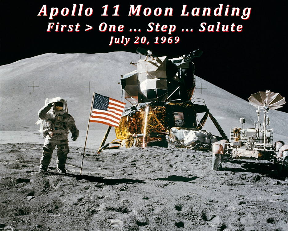 On July 20, 1969, the Apollo 11 crew successfully completed the national goal set by President John F. Kennedy eight years prior: to perform a crewed lunar landing and return to Earth ... American astronaut Neil Armstrong became the first man to ever walk on the moon. About 20 minutes later, American astronaut Buzz Aldrin became the second person to set foot on the moon. American astronaut Michael Collins remained in the capsule orbiting the moon that safely returned the three astronauts back to earth. (Image created by USA Patriotism! from NASA courtesy photo)