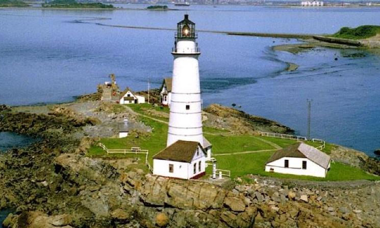 Aerial view of the Boston Light Station on Little Brewster Island, Massachusetts. America's oldest aid to navigation was first lit on Sept. 14, 1716 and is nine nautical miles from Boston. (Photo courtesy of the National Park Service, 2016)