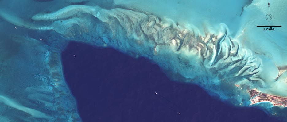 The primary test site for the expedition was just west of the Berry Islands on the northern edge of the Great Bahama Bank. The location was chosen as the prime testing site because it gradually changed depth from one meter to deep ocean in a short north-south span (25 nautical miles). This natural-color Landsat 8 image acquired on March 23, 2019, shows where the northern Great Bahama Bank meets the deep ocean. (Image by NASA/USGS Landsat)