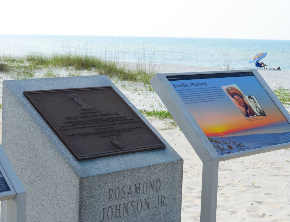 July 10, 2020 - A monument in Pvt. Rosamond Johnson Jr.'s memory is located near the Johnson Beach Pavilion. The monument was erected in 1996 to honor the soldier for his courageous acts. (U.S. Navy photo by Joshua Cox, NAS Pensacola Public Affairs Office)