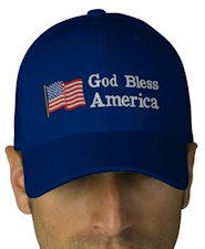 God Bless America Embroidered Flexfit Wool Cap - Blue