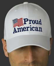 American Proud with US Flag White Embroidered Flexfit Wool Cap