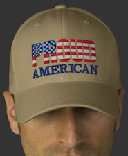 American Proud with Flag lettering - Khaki Embroidered Flexfit Wool Cap