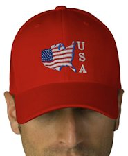 USA Flag Embroidered Flexfit Wool Cap - Red