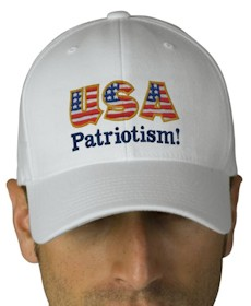 USA Patriotism! Logo Cap - White with Flag lettering