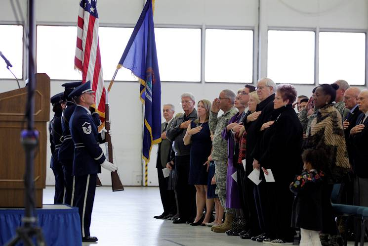 Master Sgt. Thomas Barjaktarovich and members of the 127th Wing Honor Guard present the colors during the 127th Wing change of command ceremony, in which Brig. Gen. John D. Slocum took command of the wing, Nov. 2, 2014, at Selfridge Air National Guard Base, Mich. In addition to serving as a color guard at ceremonial events, the 127th Wing Honor Guard renders final honors to Air Force veterans at about 300 funerals per year. (U.S. Air National Guard photo by Tech. Sgt. Robert Hanet)