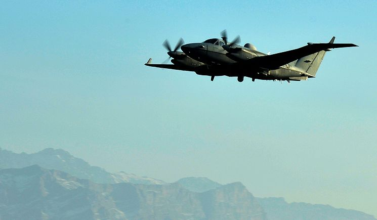 An MC-12W Liberty takes off at Bagram Air Field, Afghanistan, Jan. 27, 2014. The crew on the MC-12W is comprised of the pilot, the mission commander, a sensor operator and a technology systems operator. (U.S. Air Force photo by Senior Airman Kayla Newman)