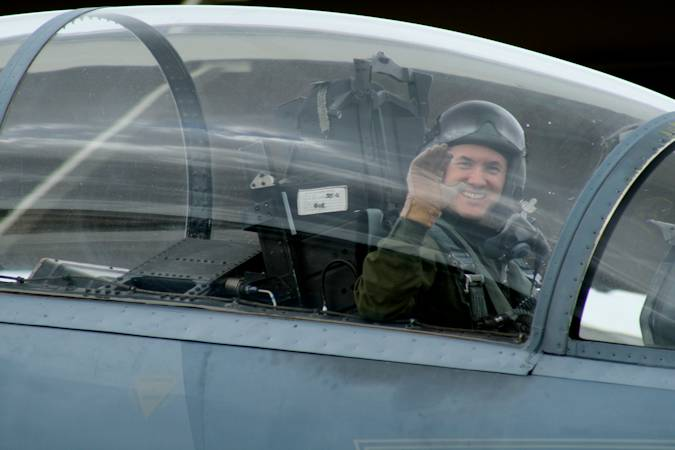 January 30, 2013 - Lt. Col. (Dr.) Jay Flottmann, a former flight surgeon and now fully qualified F-22 Raptor pilot and 325th Fighter Wing chief of flight safety, shown here in an F-15 Eagle, is the first pilot-physician to drive the F-22. (Courtesy photo)