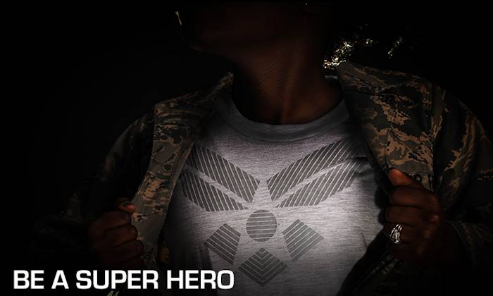 "U.S. Air Force ""Be A Superhero"" graphic by Robin Meredith and photo by Staff Sgt. Russ Scalf"