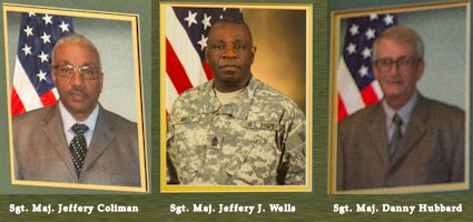 Sgt. Maj. Jeffery Coliman (left), Sgt. Maj. Jeffery J. Wells (center), and Sgt. Maj. Danny R. Hubbard (right) were inducted into the U.S. Army Sergeants Major Academy Hall of Honor on August 23, 2013. (Image created by USA Patriotism!)