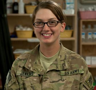 October 11, 2012 - Army Pfc. Khaley Jenkins, a medic with Headquarters and Headquarters Company, 173rd Special Troop Battalion, Task Force Raptor. Jenkins has been in the Army since July 2011. Photo by Army Spc. Alex Amen