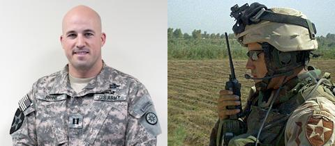 Left - Capt. William C. Brine, a resident of Bethel Park, Pa., and currently deployed as the 316th Sustainment Command (Expeditionary) battle major, at Camp Arifjan, Kuwait on July 17, 2012. (Photo by Army Sgt. Peter Berardi) ... Right - Capt. William C. Brine deployed as the 316th Sustainment Command (Expeditionary) battle major, communicating with friendly elements during a deployment to Iraq in 2004. (Courtesy Photo)