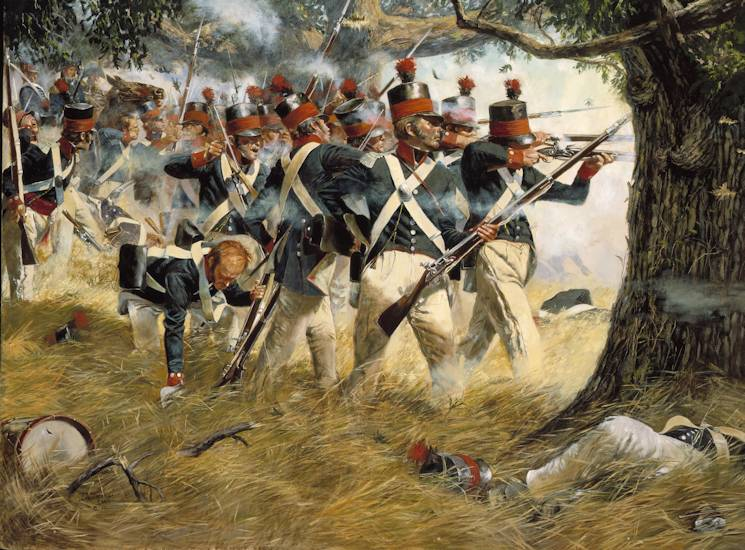 "Image of the Don Troiani's painting, ""Battle of North Point in Baltimore During the War of 1812"""