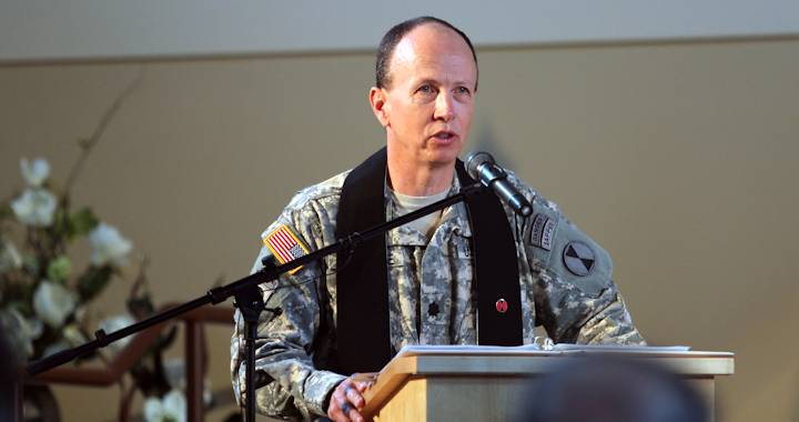 U.S. Army Lt. Col. Paul Jaedicke, chaplain for the 7th Infantry Division, speaks during a change of stole ceremony on July 8, 2013 at Joint Base Lewis-McChord, Wash. (U.S. Army photo by Staff Sgt. Lindsey Kibler)