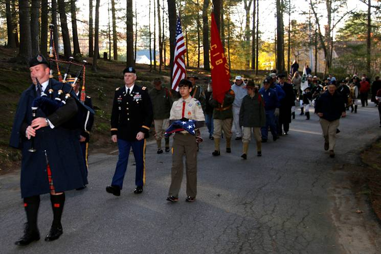 Col. Christopher Barron marches in the procession into Sleepy Hollow Cemetery. Barron represented the New England District in the flag retirement ceremony held on Veterans Day at Sleepy Hollow Cemetery in Concord, Mass. Barron spoke to the crowd urging everyone to honor veterans, not just on Veterans Day, but every day. (Photo by Brian Murphy/U.S. Army Corps of Engineers)