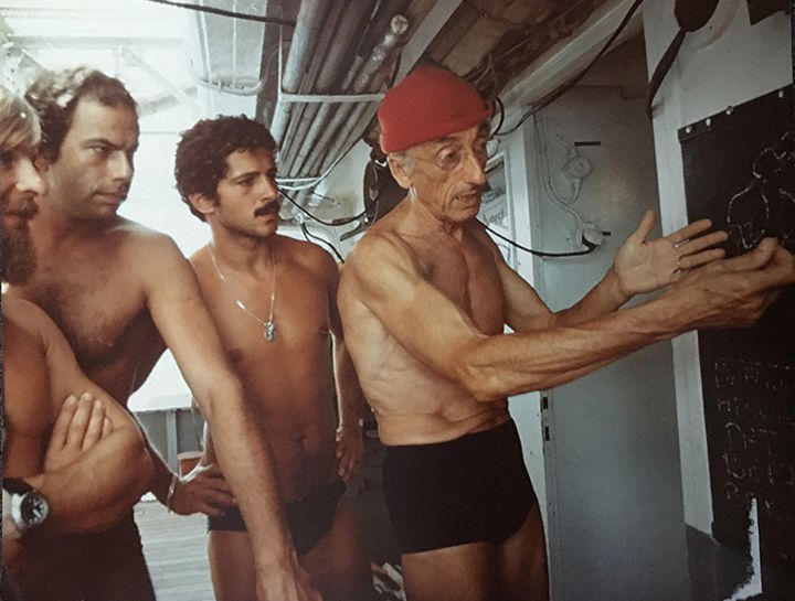 Jacques Cousteau and his team of expert divers were a key part of the success of the 1975 NASA-Cousteau Bathymetry Experiment. In this photo from left to right: Bernard Delemotte, Chief Diver; Henri Garcia; Jean-Jérome Carcopin, and Jacques Cousteau. (Courtesy photo by The Cousteau Society)