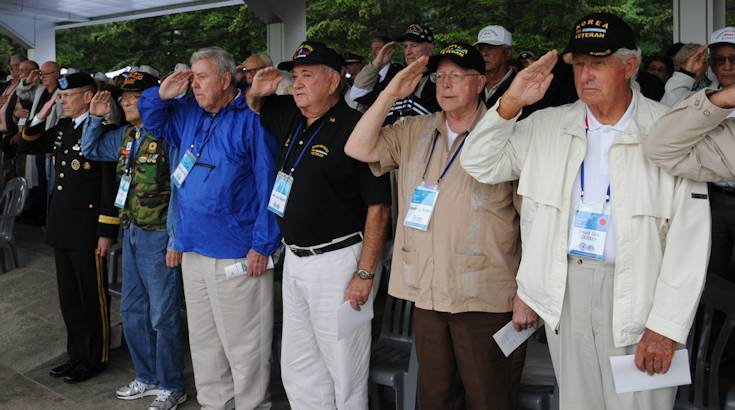 Korean War veterans participate in the ceremony to mark the 60th anniversary of the Nevada Outposts Battle, at Yangju, South Korea, May 8, 2013. (Photo by Pfc. Hong Sungwoo, Eighth Army Public Affairs)